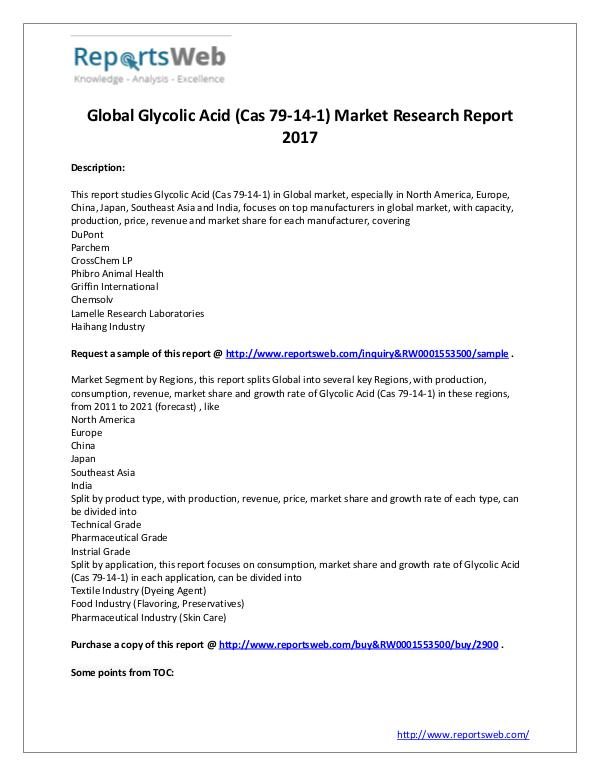 Market Analysis 2017 Global Glycolic Acid (Cas 79-14-1) Industry