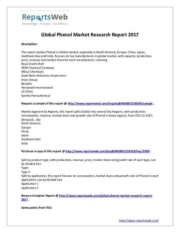 Market Analysis Phenol Market Growth & Development