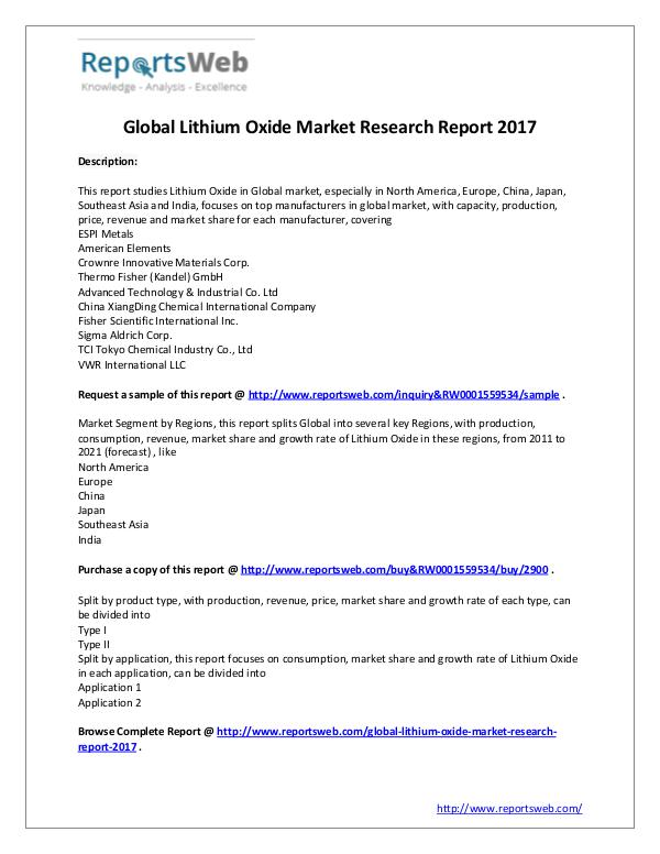 Market Analysis Global Lithium Oxide Market Research 2017
