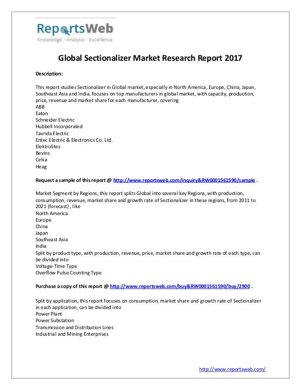 Market Analysis SWOT analysis of Global Sectionalizer Industry