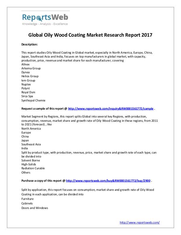 Market Analysis 2017 Analysis: Global Oily Wood Coating Industry