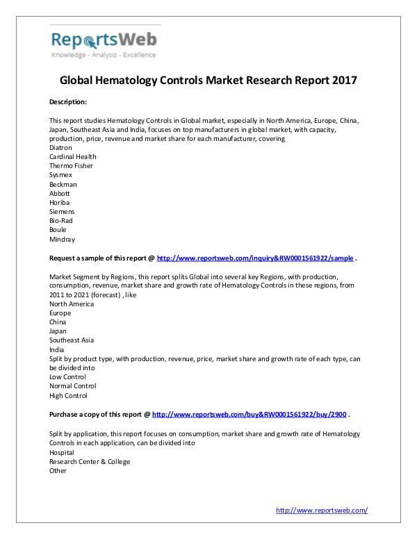 Market Analysis New Study: 2017 Global Hematology Controls Market