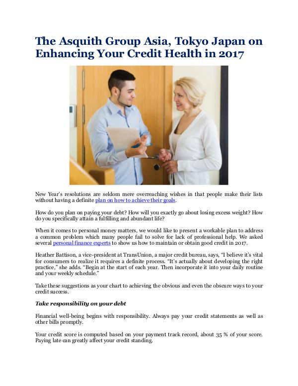 Enhancing Your Credit Health in 2017