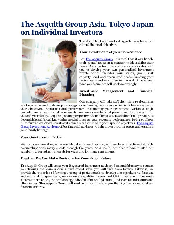 The Asquith Group Asia, Tokyo Japan Individual Investors