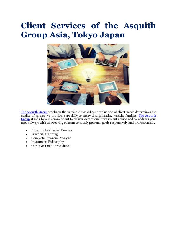 The Asquith Group Asia, Tokyo Japan Client Services
