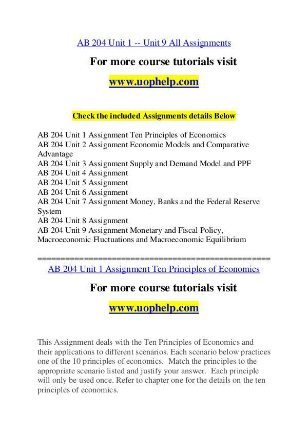 AB 204 Endless Education /uophelp.com AB 204 Endless Education /uophelp.com