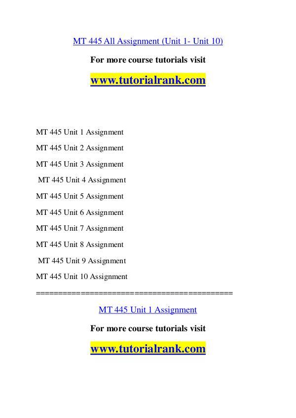 mt445 unit 1 assignment 1