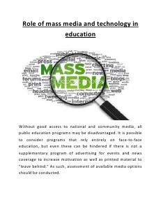 role of mass media and technology in education august 2013