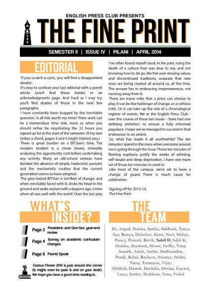 The Fine Print Issue 4, April 2014