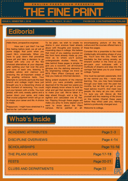 The Fine Print Issue 0, July 2014