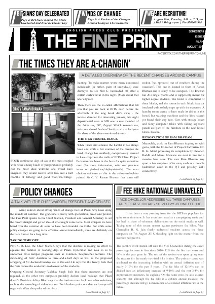 The Fine Print Issue One, August 2014