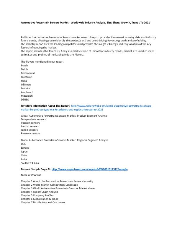 Market Research Update World Automotive Powertrain Sensors Market by Prod
