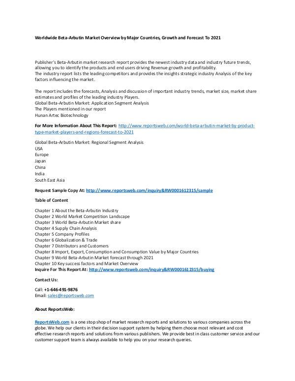 Market Research Update World Beta-Arbutin Market by Product Type, Market,