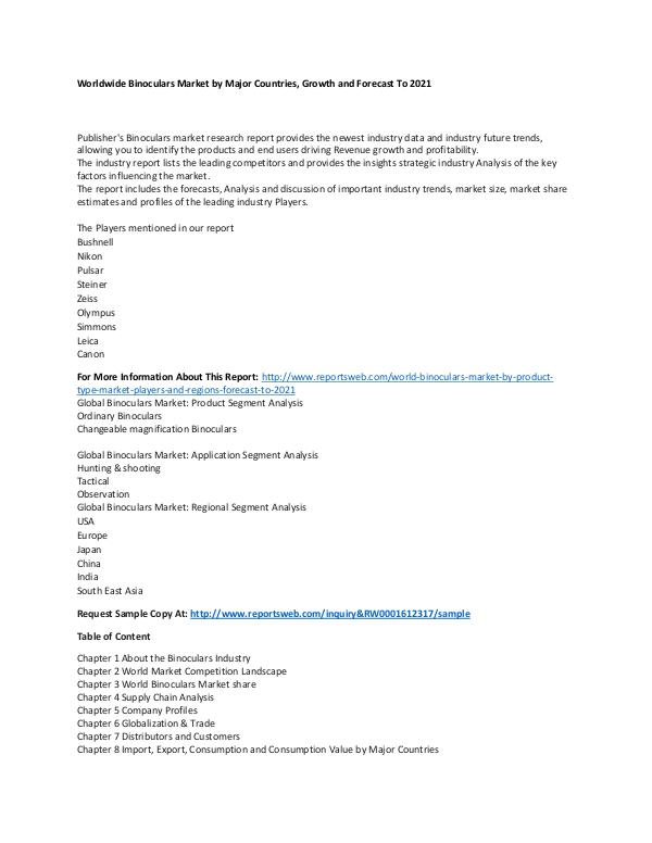 Market Research Update World Binoculars Market by Product Type, Market, P
