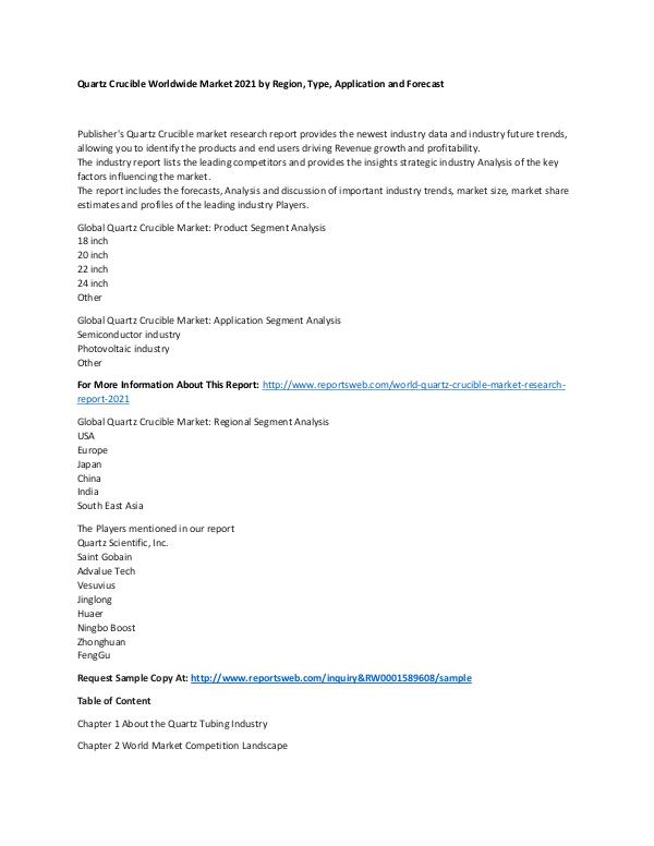 Market Research Update World Quartz Crucible Market Research Report 2021
