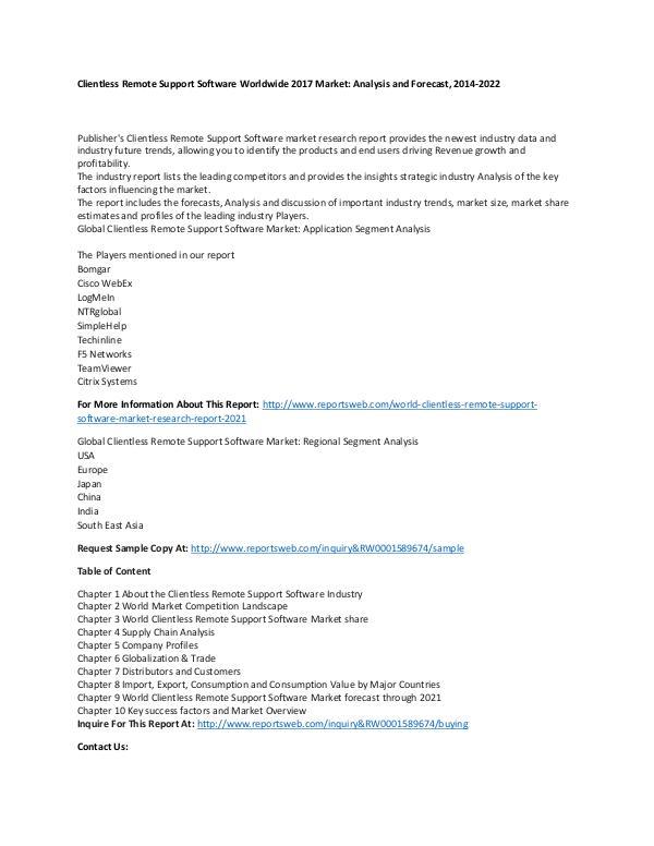 Market Research Update World Clientless Remote Support Software Market Re