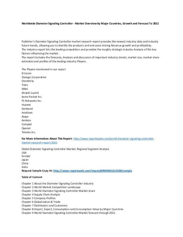Market Research Update World Diameter Signaling Controller Market Researc