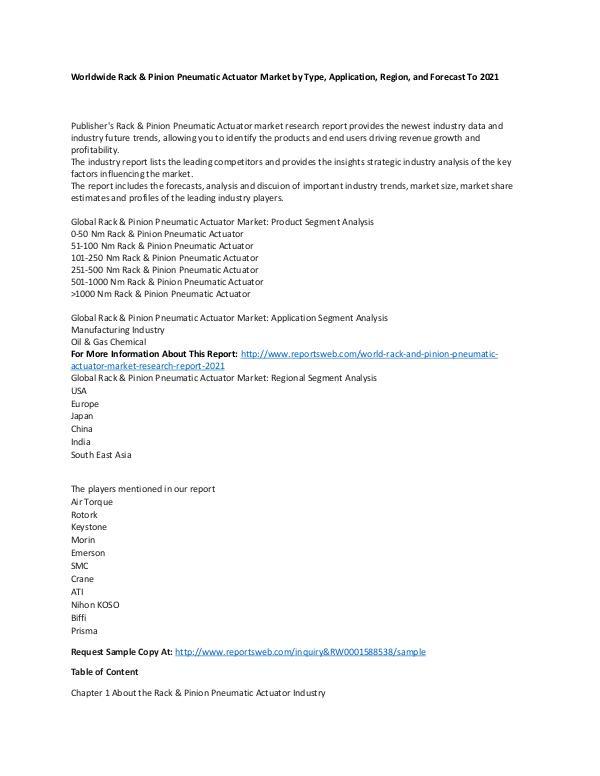 Market Research Update World Rack & Pinion Pneumatic Actuator Market Rese