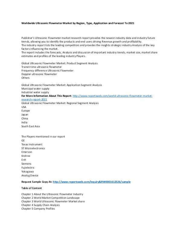 Market Research Update World Ultrasonic Flowmeter Market Research Report