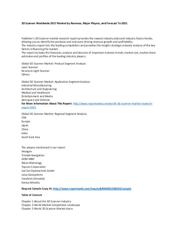 Market Research Update World 3D Scanner Market Research Report 2021