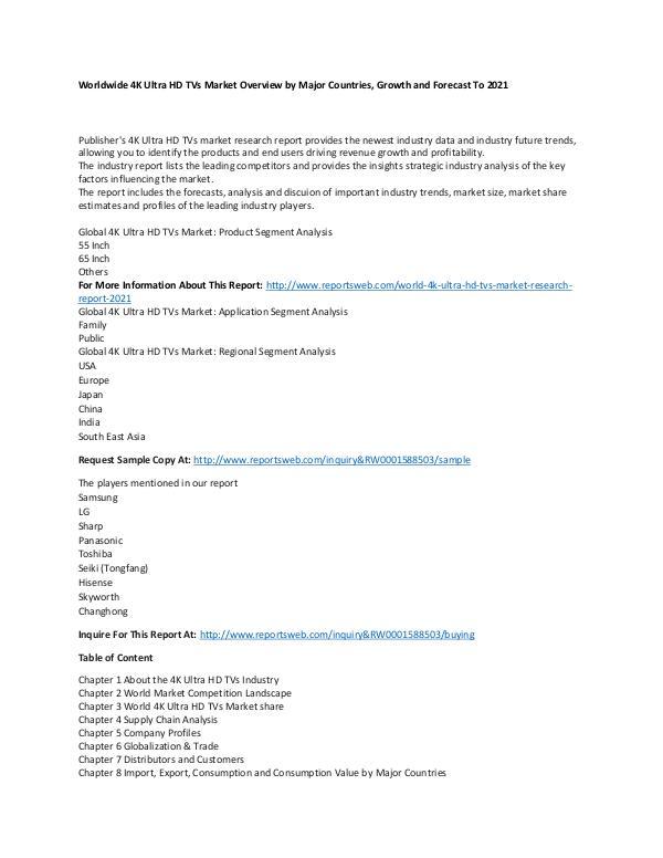 Market Research Update World 4K Ultra HD TVs Market Research Report 2021