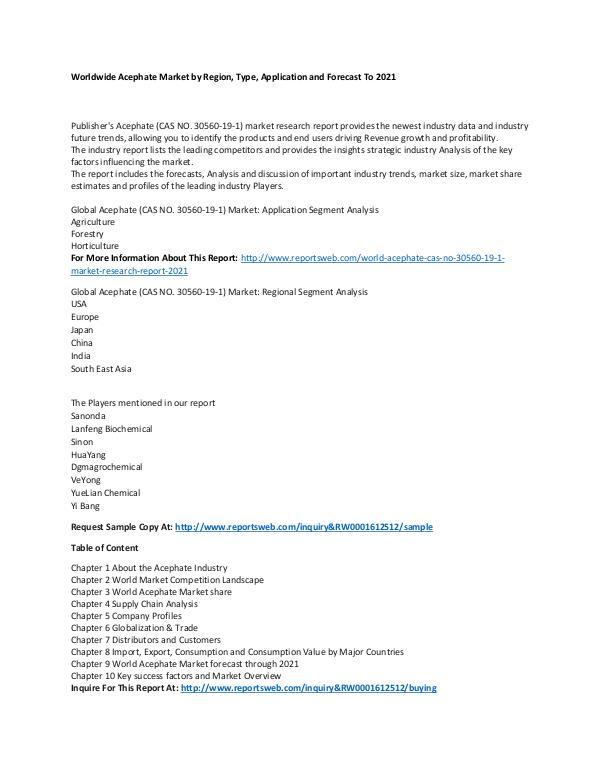 World Acephate (CAS NO. 30560-19-1) Market Researc