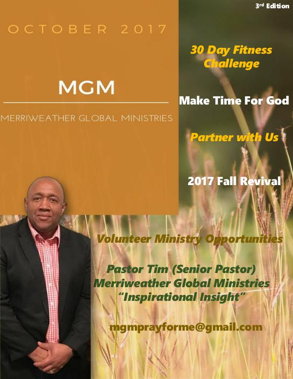 Merriweather Global Ministries October 2017 Merriweather Global Ministries