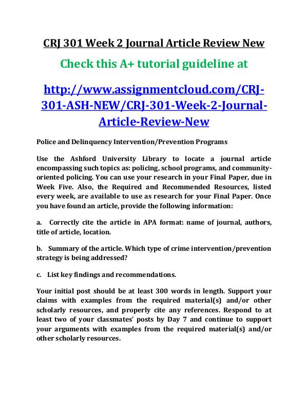 ASH CRJ 301 Entire Course New ash CRJ 301 Week 2 Journal Article Review New