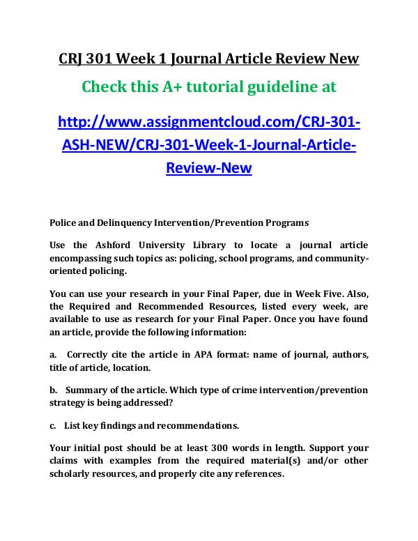 ASH CRJ 301 Entire Course New ash CRJ 301 Week 1 Journal Article Review New