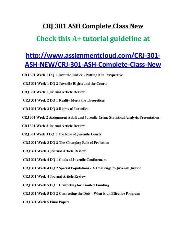 ASH CRJ 301 Entire Course New ash CRJ 301 ASH Complete Class New