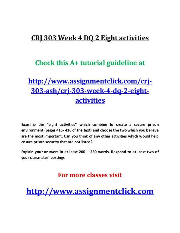 CRJ 303 Week 4 DQ 2 Eight activities