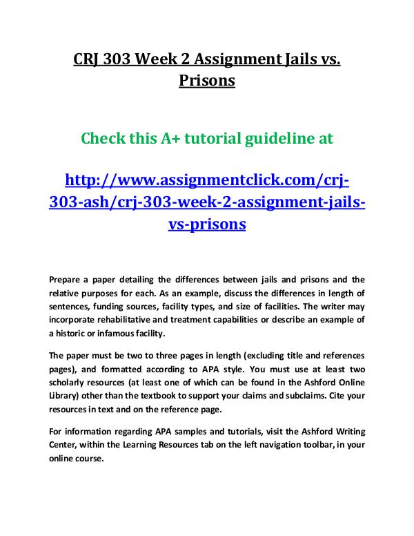 CRJ 303 Week 2 Assignment Jails vs