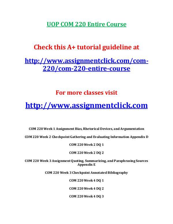 UOP COM 220 Entire Course