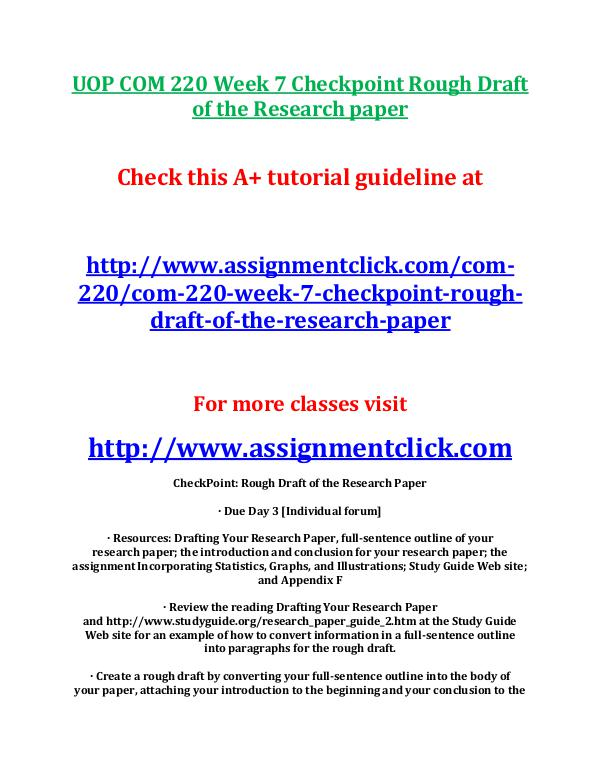 UOP COM 220 Entire Course UOP COM 220 Week 5 Assignment Incorporating Statis