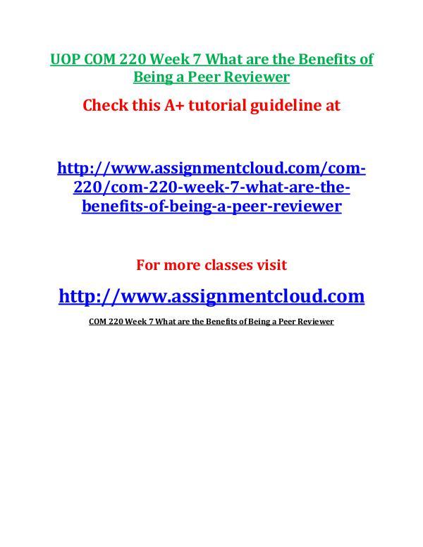 UOP COM 220 Week 7 Assignment Peer Review Workshop