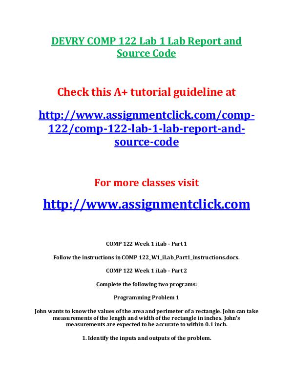 Devry COMP 122 Entire Course DEVRY COMP 122 Lab 1 Lab Report and Source Code