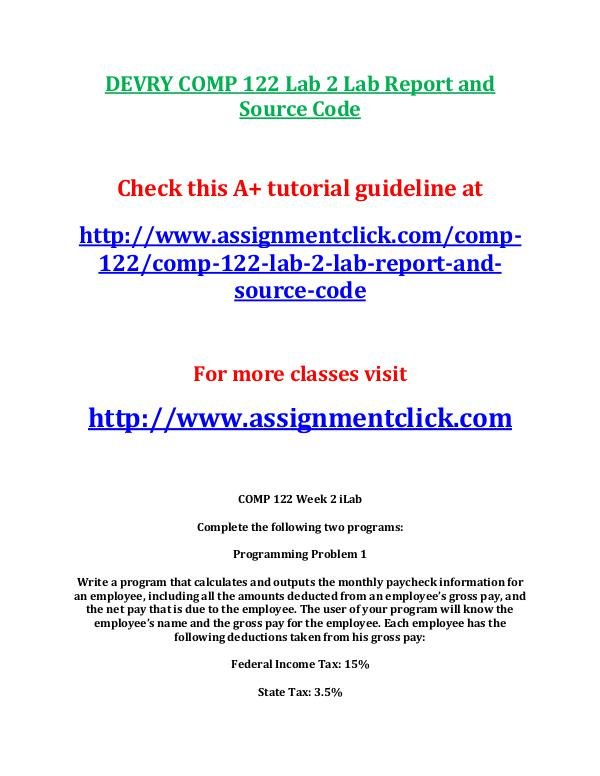 DEVRY COMP 122 Lab 2 Lab Report and Source Code