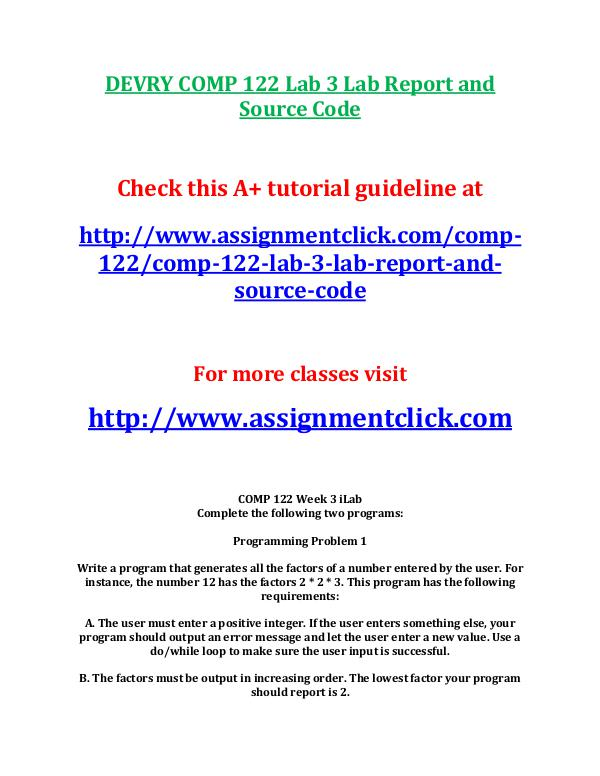 Devry COMP 122 Entire Course DEVRY COMP 122 Lab 3 Lab Report and Source Code