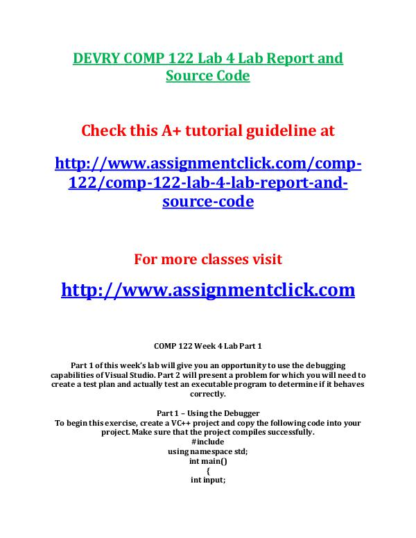 DEVRY COMP 122 Lab 6 Lab Report and Source Code