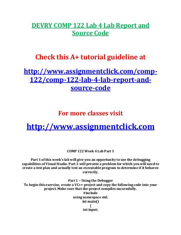 Devry COMP 122 Entire Course DEVRY COMP 122 Lab 6 Lab Report and Source Code