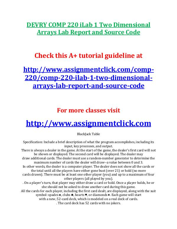 Devry COMP 220 Entire Course DEVRY COMP 220 iLab 1 Two Dimensional Arrays Lab R