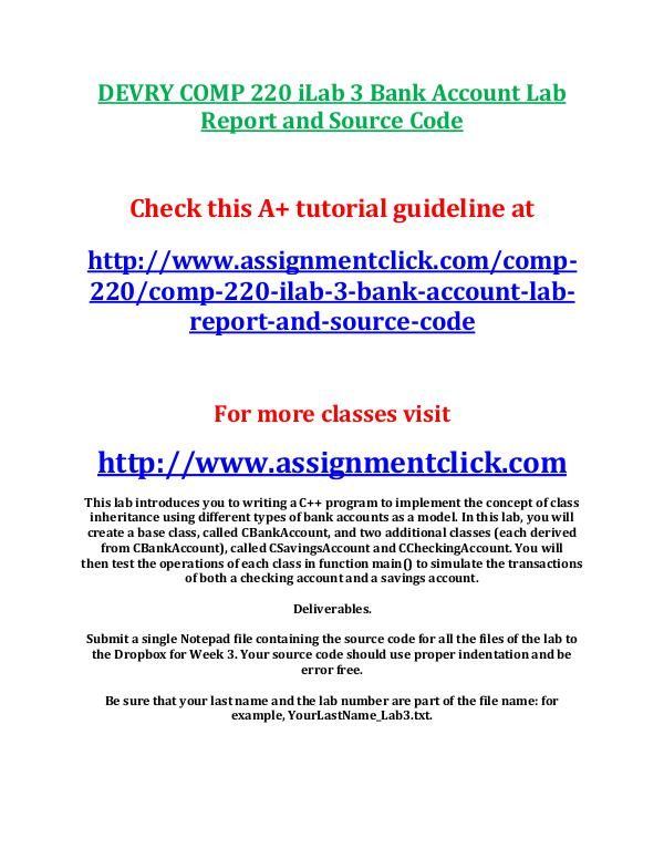 DEVRY COMP 220 iLab 3 Bank Account Lab Report and