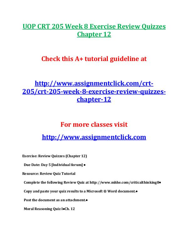 UOP CRT 205 Week 8 Exercise Review Quizzes Chapter