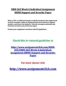 UOP DBM 265 Entire Course