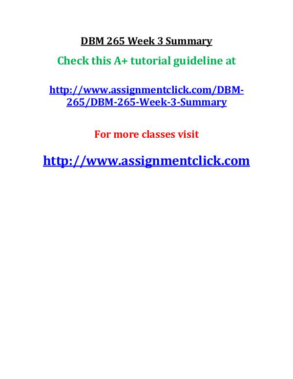 dbm 502 week 3 Dbm 502 week 1 individual assignment small database and paper dbm 502 week 1 individual assignment small database and paper.