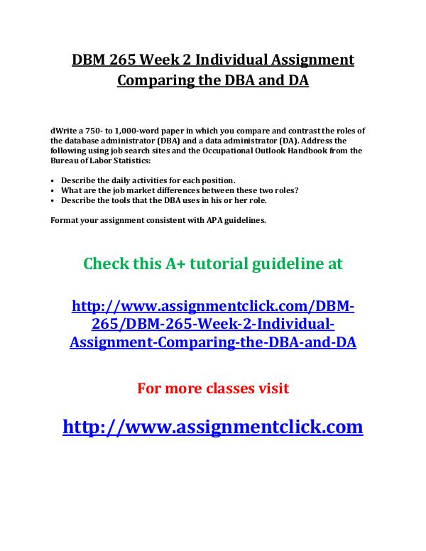 UOP DBM 265 Week 2 Individual Assignment Comparing