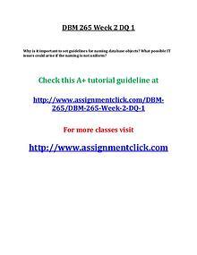 UOP DBM 265 Entire Course