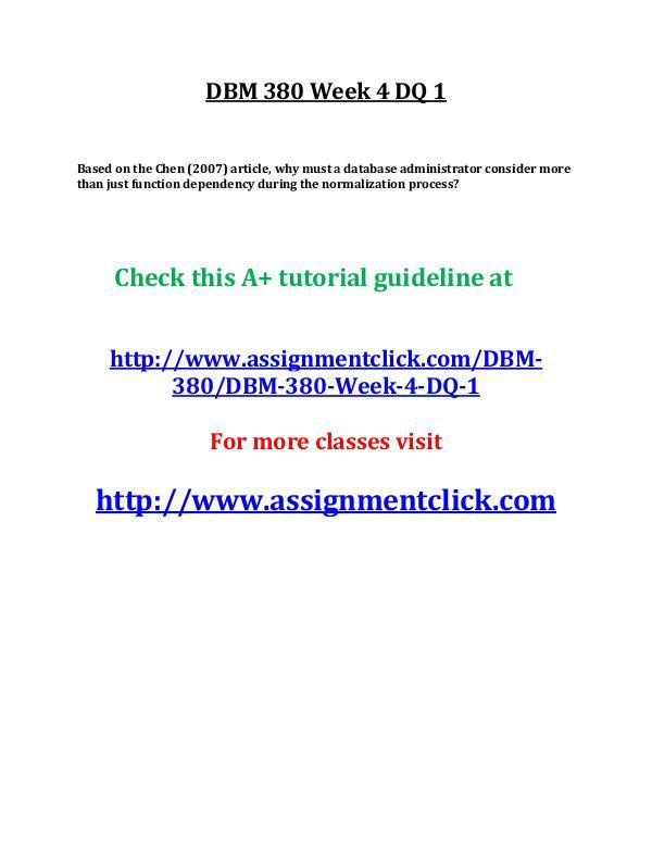 UOP DBM 380 Week 4 DQ 1
