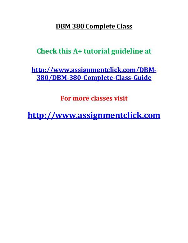 UOP DBM 380 Complete Class