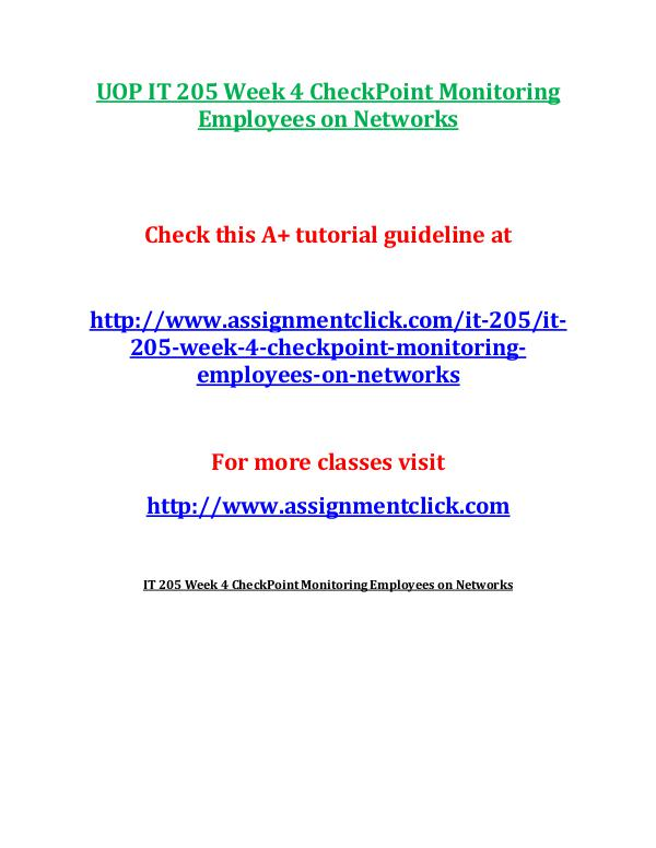 "it 205 checkpoint monitoring employees It 205 entire course link read ""monitoring employees on networks."